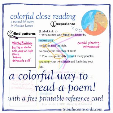Colorful Close Reading of Poetry (with a printable reference card)